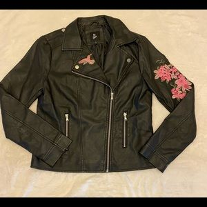 Faux leather embroidered jacket